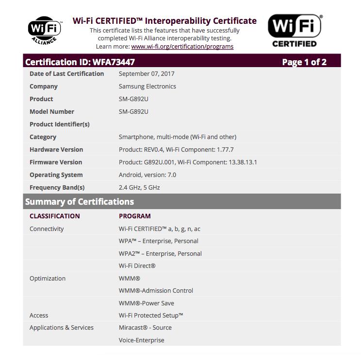 Unlocked-Galaxy-S8-Active-Wi-Fi-Alliance-Certification