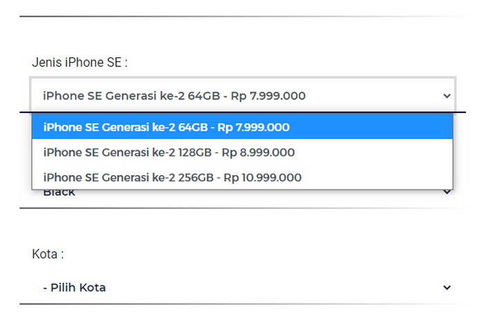 harga resmi iPhone SE 2020 Indonesia