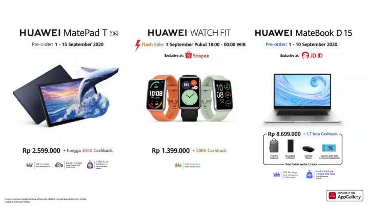 Huawei MatePad T, Huawei Watch Fit, Huawei MateBook D15