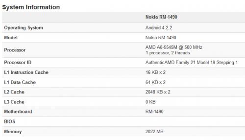 Nokia RM-1490 - Geekbench