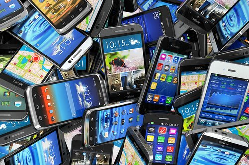 mobile smartphones pile