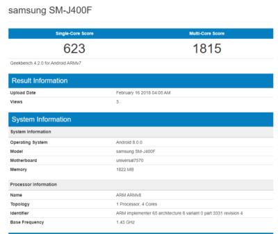 Galaxy J4 benchmarks 650x548