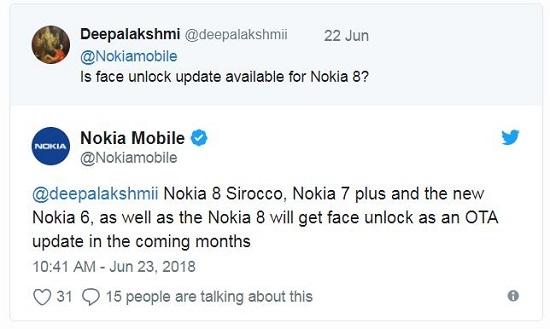 Nokia face unlock