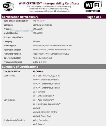 sm a562n wifi certification
