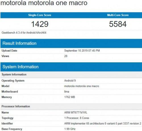 motorola one macro geekbench