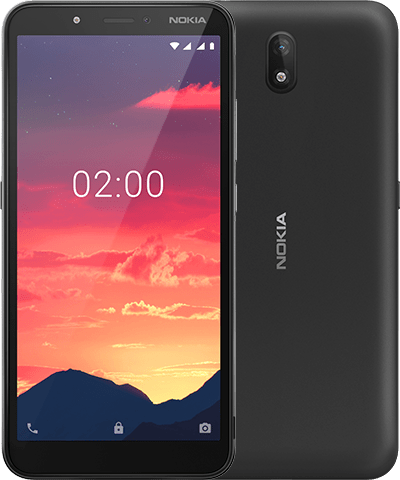 nokia C2 front back Charcoal