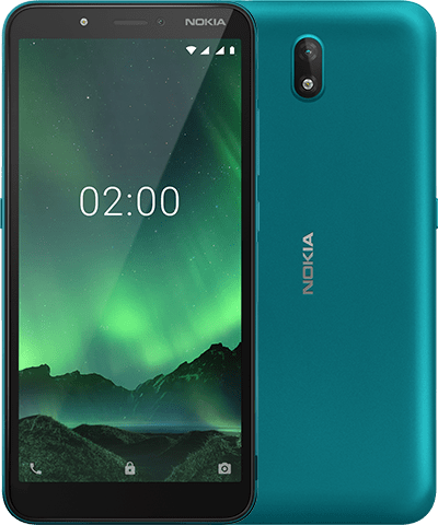 nokia C2 front back Cyan