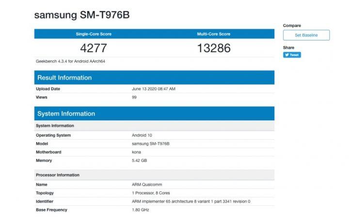 Samsung Galaxy Tab S7 5G benchmark