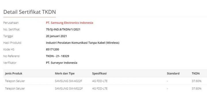 Spesifikasi Galaxy M02