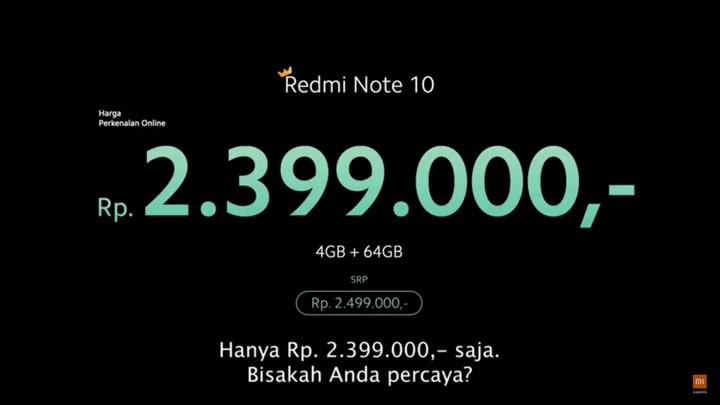 Harga dan Spesifikasi Redmi Note 10
