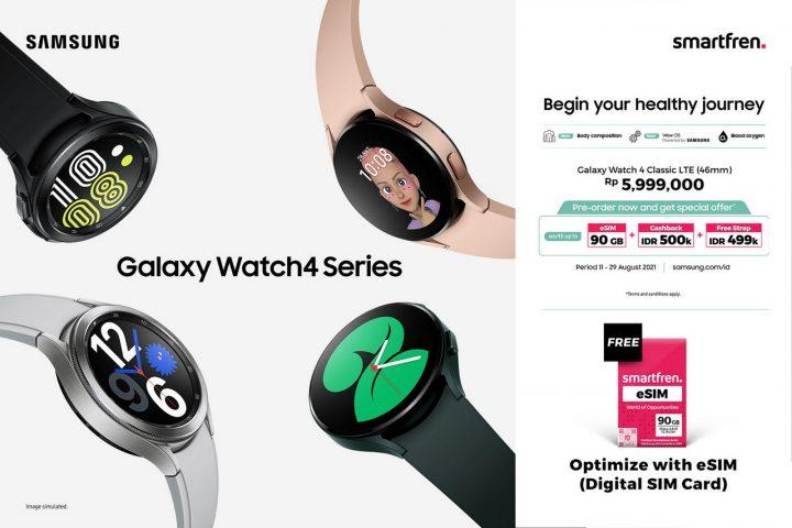 ksklusif Smartfren eSIM 90 GB untuk digunakan di Samsung Galaxy Watch4 LTE