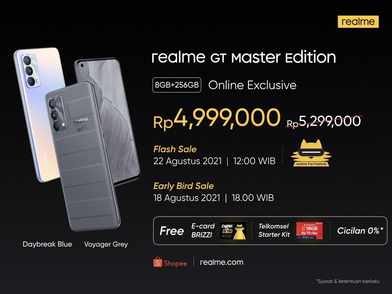 realme GT Master Edition - Daybreak Blue Lifestyle Angle