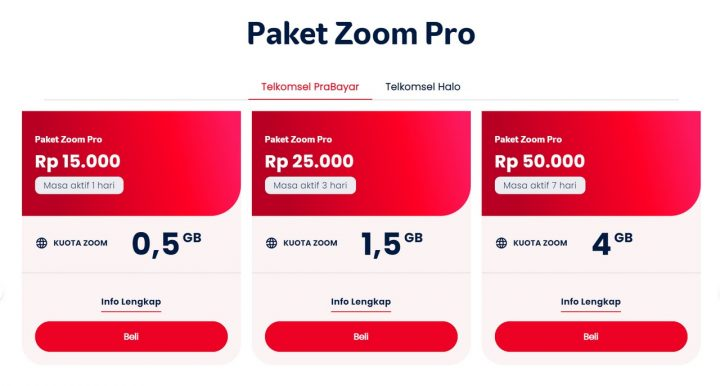 Harga paket Zoom Pro Telkomsel