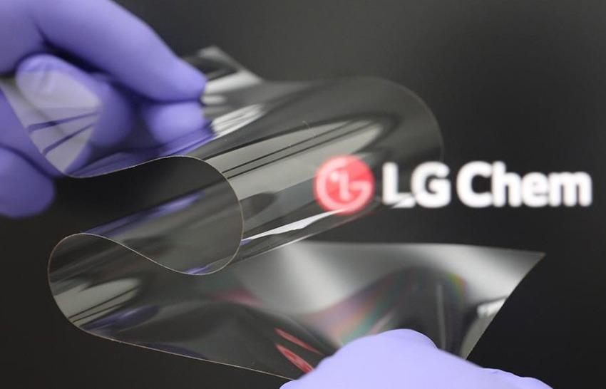 LG Chem layar lipat tanpa garis lipatan