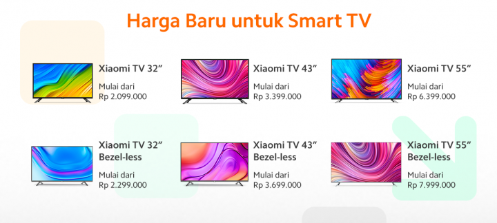 Perubahan harga smartphone smart TV Xiaomi