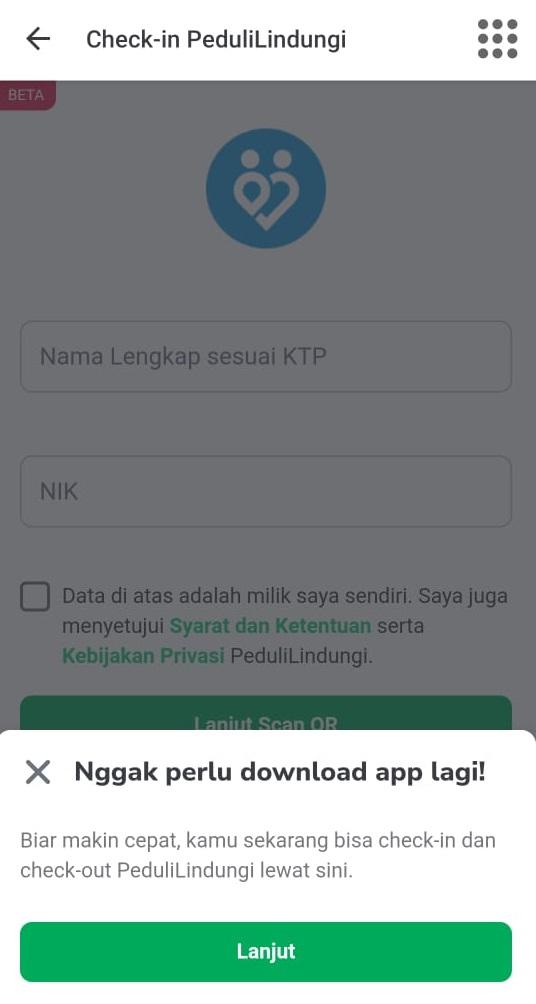 Check In PeduliLindungi